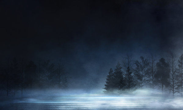 Abstract dark empty scene. Neon light, silhouettes of trees, water, big moon. Abstract night landscape. Dark forest background.