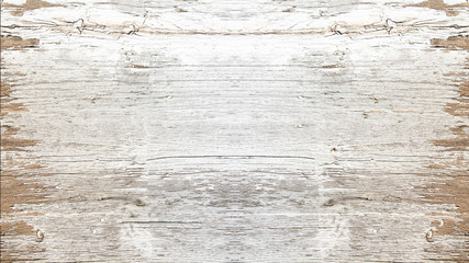 Poster Bois old white painted exfoliate rustic bright light wooden texture - wood background shabby