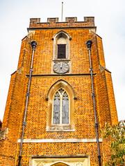 St Johns Red Brick Church and Clock Windlesham, Surrey, England.