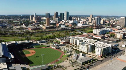 Fotomurales - Aerial View Flying In Over Ball Park towards downtown Birmingham Alabama