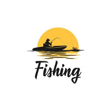 paddle board fishing silhouette logo