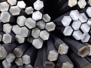 Bundle reinforcing bar. Steel reinforcement hexahedra. Industrial background. Close up view
