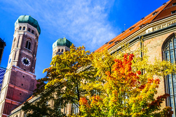 Viewn on towers of the Church of Our Lady in autumn, Munich