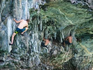 Deep Water Soloing Rock Climbing in Thailand Railay Beach Krabi Thailand