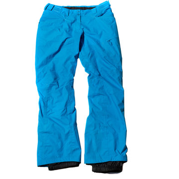 Blue womens ski trousers on white background