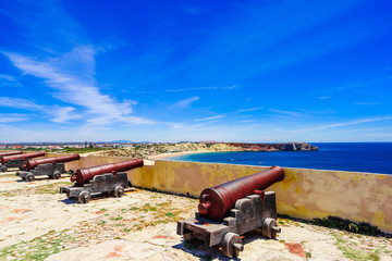 View on cannon at the fortress of Cabo de S. Vincente, Sagres, Portugal