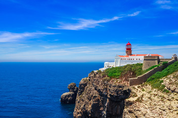 View on lighthouse of Cabo Sao Vicente, Sagres, Portugal