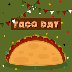 Taco day poster. Taco image - Vector illustration