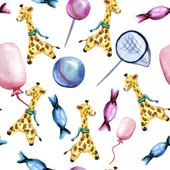 Watercolor hand drawn seamless pattern on a children's theme with giraffe, ball, balloon, butterfly net and candies on white background. Cute pattern for children's goods and decor for playroom.