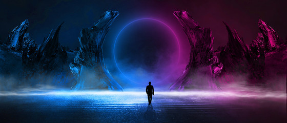 Modern futuristic abstract background. Large object in the center, space background. Dark scene with neon light.