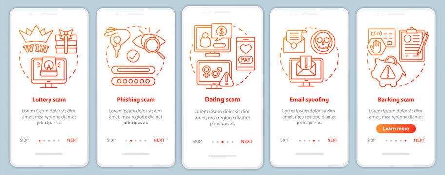 Scam types onboarding mobile app page screen vector template. Walkthrough website steps with linear illustrations. Phishing scam. UX, UI, GUI smartphone interface concept