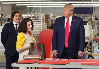 U.S. President Donald Trump visits the Louis Vuitton Rochambeau Ranch leather workshop in Keene, Texas