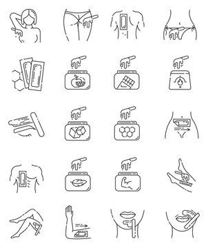 Waxing linear icons set. Female, male hair removal procedure. Cold, hot wax in jar with spatula. Depilation equipment. Thin line contour symbols. Isolated vector outline illustrations. Editable stroke