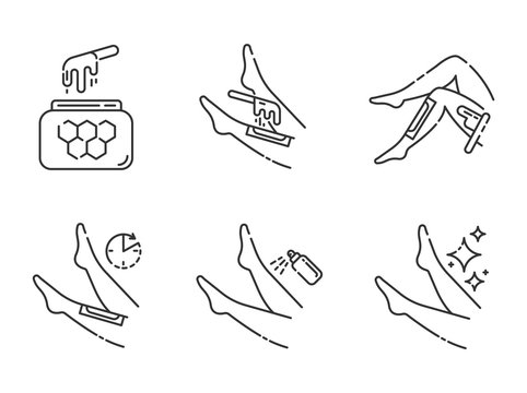 Shin waxing linear icons set. Leg hair removal with natural honey hot wax strips process. Body depilation steps. Thin line contour symbols. Isolated vector outline illustrations. Editable stroke