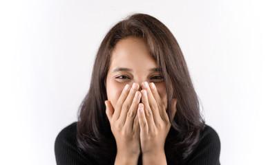 Short haired girl Wearing a black T-shirt Laughing joyfully on the White Blackground