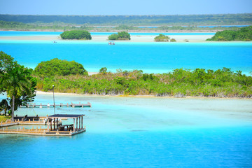 Beautiful view of blue and turquoise water landscape on vacations