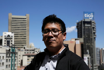 Bolivian Reynaldo Kantuta, a computer engineer who does not agree with the re-election of President Evo Morales, is seen in La Paz