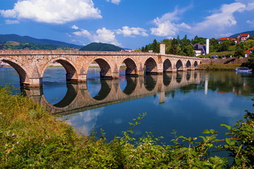 The Drina Bridge (Mehmed Pasa Sokolovic Bridge) in Visegrad (Bosnia and Herzegovina)