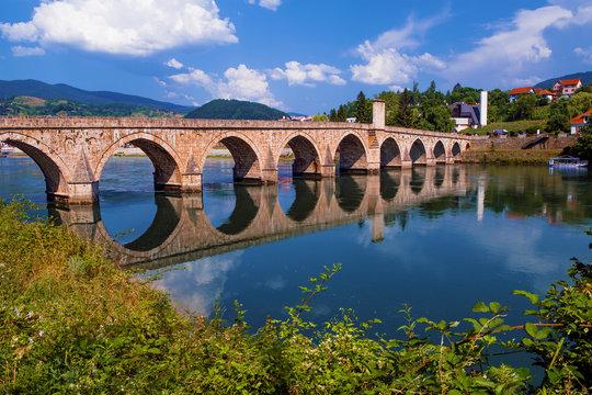 The Drina Bridge (Mehmed Pasa Sokolovic Bridge) in Visegrad (Bosnia and Herzegovina)