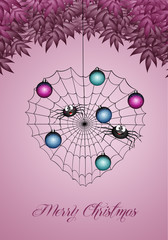 illustration of spider with spiderweb at Christmas
