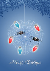 Two funny spiders at Christmas