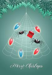 illustration of spiders on Christmas tree