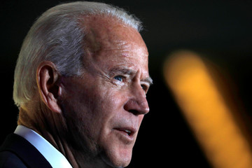 Democratic presidential candidate former Vice President Joe Biden delivers a speech during the Women's Leadership Forum in Washington
