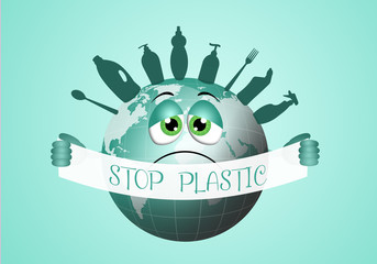 illustration of green earth with stop plastic message