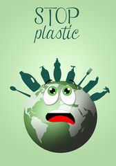 illustration of green earth with plastic objects