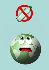illustration of green earth with plastic bottle