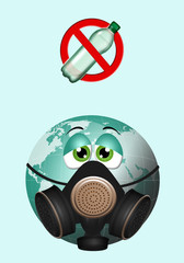 illustration of green earth with gas mask
