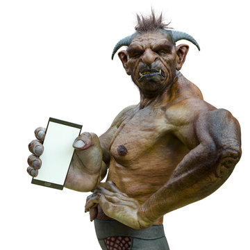 troll holding a cellphone