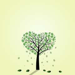 illustration of green tree with heart