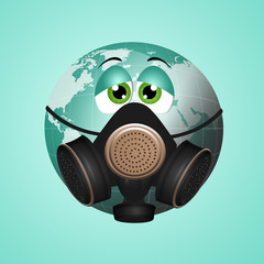 Green earth with gas mask