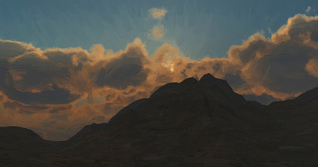 sunset in the mountains digital oil painting