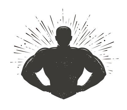 Gym, champion logo or label. Sport symbol. Vector illustration