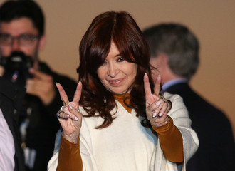 Cristina Fernandez, running mate of presidential candidate Alberto Fernandez, gestures during a campaign rally in Santa Rosa