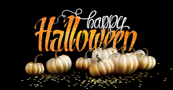 Happy Halloween vector illustration with gold confetti and white pumpkins. Happy Halloween lettering. Gold decorated pumpkin.