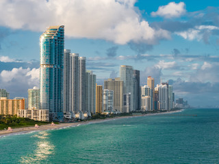 Fototapeta Amazing aerial photo Sunny Isles Beach Florida USA beachfront architecture Atlantic Ocean