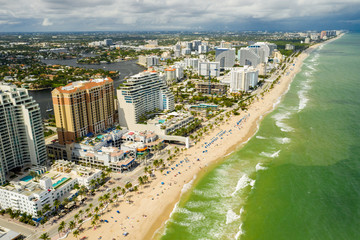 Wall Mural - Nice colorful aerial drone photo of Fort Lauderdale Beach FL