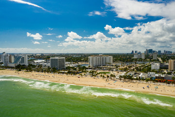Wall Mural - Shores of Fort Lauderdale Beach Florida shot with aerial drone