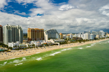 Wall Mural - Aerial photo beachfront resorts and condo buildings Fort Lauderdale Florida