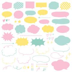 手描き吹き出しセット パステルカラー / speech bubble, speech balloon