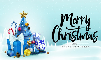 Christmas Banner. Snowy Background with Merry Christmas and Happy New Year Message Typography Lettering Text in Blue Background with Candy Canes, Christmas Tree, Gifts, Balls, Star, Pine and cone