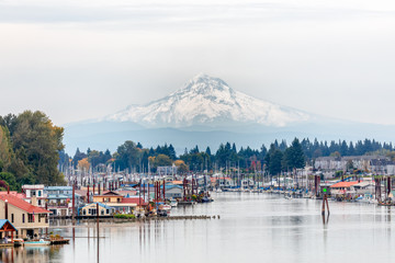 View of Mt. Hood and Portland Marina floating boat houses in Oregon