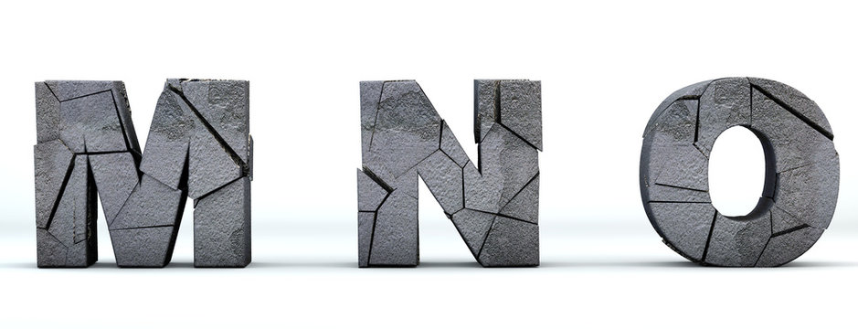 Font broken. Letters M, N, O cracked 3d render. Isolated on white background. Path save.