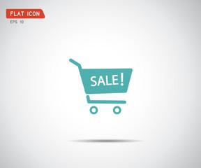 flat shopping cart icon, logo design vector illustration