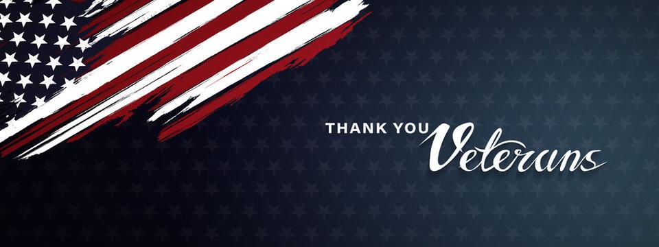 Thank you veterans, November 11, honoring all who served, posters, modern brush design vector illustration