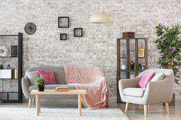Interior of stylish modern living room Wall mural