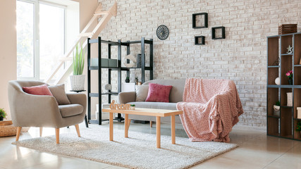 Wall Mural - Interior of stylish modern living room